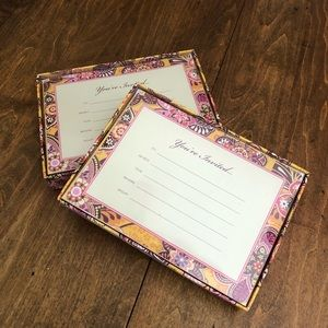 Vera Bradley Invitation  Bali Gold 12 count x2